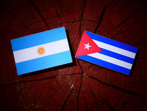 Argentinian flag with Cuban flag on a tree stump isolated Royalty Free Stock Image