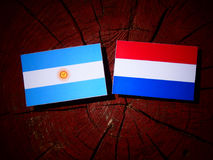 Argentinian flag with Dutch flag on a tree stump isolated Royalty Free Stock Images