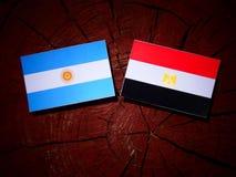Argentinian flag with Egyptian flag on a tree stump  Stock Photos