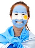 Argentinian flag - female face Stock Photo