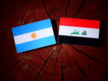 Argentinian flag with Iraqi flag on a tree stump isolated Royalty Free Stock Photo