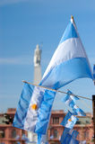 Argentinian Flag in May square pyramid. Buenos Aires, Argentina royalty free stock image