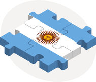 Argentinian Flag in puzzle. Illustration of Argentinian Flag in puzzle isolated on white background Stock Photo