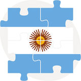 Argentinian Flag in puzzle. Illustration of Argentinian Flag in puzzle isolated on white background Royalty Free Stock Photos