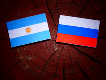 Argentinian flag with Russian flag on a tree stump  Royalty Free Stock Image