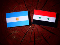 Argentinian flag with Syrian flag on a tree stump isolated Stock Images