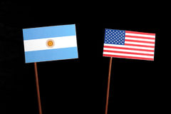 Argentinian flag with USA flag isolated on black Stock Photography