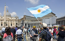 Argentinian Flag Waving in Vatican City Royalty Free Stock Photos