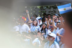 Argentinian Football Fans. Argentinian fans cheer on their team during the 2014 World Cup on Miami Beach Stock Photography