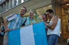 Argentinian Football Fans at the 2006 Football World Cup in Berlin on June 29, 2006 one day before the quarter-final Royalty Free Stock Photography