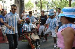 Argentinian Football Fans at the 2006 Football World Cup in Berlin on June 29, 2006 one day before the quarter-final Stock Photo