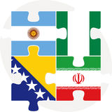 Argentinian, Iranian, Bosnia Herzegovinan and Nigerian Flags in Royalty Free Stock Photos