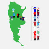 Argentinian League Clubs Map Stock Photo
