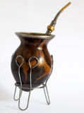 Argentinian mate. Calabash over white background Royalty Free Stock Photos