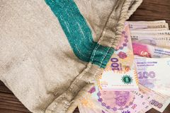 Argentinian money / pesos of the bank bag Royalty Free Stock Photo