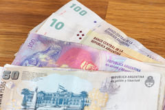 Argentinian money / pesos. View of the Argentinian money / pesos Royalty Free Stock Photos