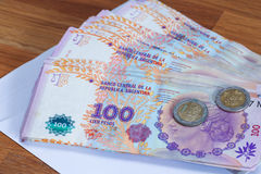 Argentinian money / pesos. View of the Argentinian money / pesos Stock Image