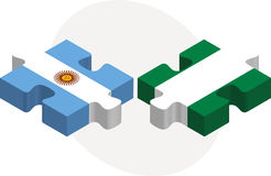 Argentinian and Nigerian Flags in puzzle Royalty Free Stock Image