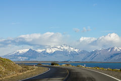 Argentinian Patagonia. A lake and the mountains with snowy peaks in the argentinian patagonia, El Calafate Stock Images