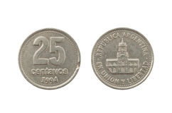 Argentinian 25 peso centavos coin. Isolated on white background Stock Photography