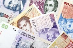 Argentinian Pesos, a background Stock Photo