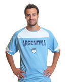 Argentinian soccer fan is ready for kick off Royalty Free Stock Photography