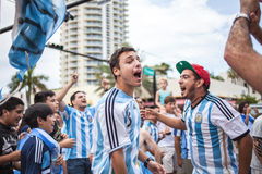 Argentinian soccer fans celebrating - Stock Image royalty free stock photos