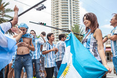 Argentinian soccer fans celebrating - Stock Image Stock Images