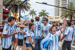 Argentinian soccer fans celebrating - Stock Image Royalty Free Stock Photo