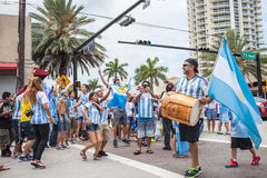 Argentinian soccer fans celebrating - Stock Image Royalty Free Stock Photography