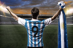Argentinian soccer player. Celebrating with the fans Royalty Free Stock Photos