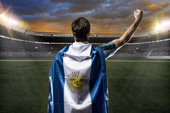 Argentinian soccer player. Celebrating with the fans Stock Image