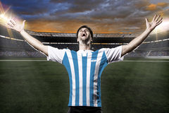 Argentinian soccer player. Celebrating with the fans Royalty Free Stock Photography