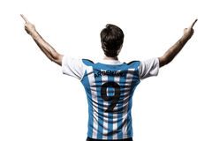Argentinian soccer player. Celebrating on the white background Royalty Free Stock Photo