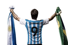 Argentinian soccer player. Celebrating on the white background Stock Images