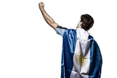 Argentinian soccer player. Celebrating on the white background Royalty Free Stock Photos