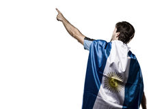 Argentinian soccer player. Celebrating on the white background Stock Photo