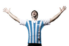 Argentinian soccer player. Celebrating on the white background Stock Photos