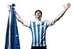 Argentinian soccer player. Celebrating on the white background Stock Image