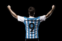 Argentinian soccer player. Celebrating on the black background Royalty Free Stock Photography