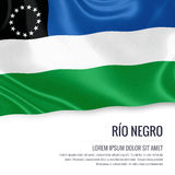 Argentinian state Río Negro flag. Argentinian state Río Negro flag waving on an isolated white background. State name and the text area for your message Stock Image
