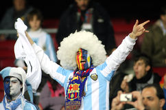 Argentinian supporter. Celebrate a goal during the friendly match between Catalonia vs Argentina at Camp Nou Stadium Dec. 22, 2009 in Barcelona Stock Images