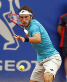 Argentinian tennis player Leonardo Mayer. In action during a match of Barcelona tennis tournament Conde de Godo on April 22 2015 in Barcelona Royalty Free Stock Photography