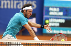 Argentinian tennis player Leonardo Mayer. In action during a match of Barcelona tennis tournament Conde de Godo on April 22 2015 in Barcelona Stock Image