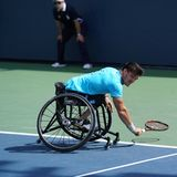 Argentinian wheelchair tennis player Gustavo Fernandez in action during US Open 2017 Wheelchair Men`s Singles semifinal. NEW YORK - SEPTEMBER 9, 2017 Stock Images