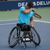 Argentinian wheelchair tennis player Gustavo Fernandez in action during US Open 2017 Wheelchair Men`s Singles semifinal. NEW YORK - SEPTEMBER 9, 2017 Royalty Free Stock Photography