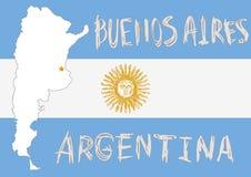 Argentinien-Grenzform, Flagge auf Hintergrund und die gezeichnete Hand sonnen EM Lizenzfreies Stockbild