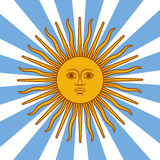Argentinien-Karte - Plakatillustration mit Sonnen- und Flaggenfarben Stockbilder