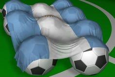 Argentinien Markierungsfahne und Fußballkugeln Lizenzfreie Stockbilder