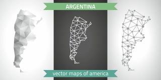 Argentinien-Sammlung der modernen Karten-, Grauer und Schwarzer und silbernerdes punktentwurfs-Mosaiks 3d Karte des Vektordesigns Stockbild